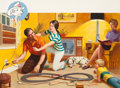 Paintings, ROBERT A. HEUEL II (American, 1919-2009). Safety First, NFPA advertisement. Gouache on board. 17.5 x 28.5 in. (image). N...
