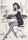 Pin-up and Glamour Art, WILLIAM MEDCALF (American, 20th Century). Seated Woman at aCafé. Gouache on card stock. 27.75 x 20 in.. Signed lower ri...