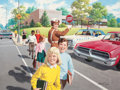 Mainstream Illustration, ARTHUR SARON SARNOFF (American, 1912-2000). Assisting theChildren in the Crosswalk. Gouache and tempera on board. 27.5...