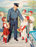 Mainstream Illustration, WILLIAM MEDCALF (American, 20th Century). Safety Talk with thePoliceman. Oil on board. 33.25 x 26.25 in. (image). Signe...
