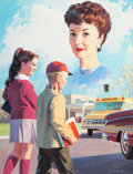 Mainstream Illustration, WILLIAM MEDCALF (American, 20th Century). Remember to BeSafe. Gouache and tempera on board. 27.75 x 21.25 in. (image)....