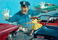 Mainstream Illustration, ARTHUR SARON SARNOFF (American, 1912-2000). Watch Out!. Oilon board. 26.75 x 38.75 in. (image). Signed lower left. ...