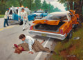 Mainstream Illustration, ARTHUR SARON SARNOFF (American, 1912-2000). The Accident.Oil on canvas. 36 x 26 in.. Signed lower right. ...