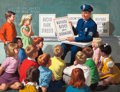 Mainstream Illustration, ARTHUR SARON SARNOFF (American, 1912-2000). Safety Lecture toYoung Students. Gouache on board. 29.5 x 37.5 in.. Signed ...