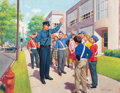 Mainstream Illustration, ARTHUR SARON SARNOFF (American, 1912-2000). Safety Patrol.Gouache and tempera on board. 24.5 x 31.5 in. (image). Signed...