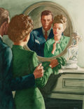 Mainstream Illustration, Attributed to AL BUELL (American, 1910-1996). Beautiful CoupleLooking in the Mirror. Watercolor and gouache on board. ...