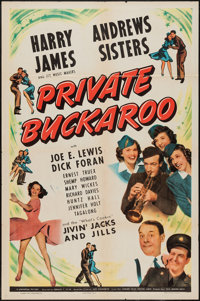 "Private Buckaroo (Universal, 1942). One Sheet (27"" X 41"") and Title Card and Lobby Cards (3) (11"" X 14&qu..."