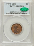 Lincoln Cents: , 1909-S VDB 1C MS63 Red and Brown PCGS. CAC. PCGS Population(625/2397). NGC Census: (293/1229). Mintage: 484,000. Numismedi...