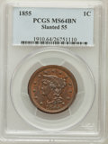Large Cents: , 1855 1C Slanting 5s MS64 Brown PCGS. PCGS Population (15/8). NGCCensus: (15/14). ...