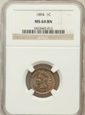 Indian Cents: , 1894 1C MS64 Brown NGC. NGC Census: (91/32). PCGS Population(43/10). Mintage: 16,752,132. Numismedia Wsl. Price for proble...