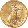 High Relief Double Eagles, 1907 $20 High Relief, Flat Rim MS66 NGC....