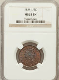 Half Cents: , 1835 1/2 C MS65 Brown NGC. NGC Census: (54/3). PCGS Population(22/0). Mintage: 398,000. Numismedia Wsl. Price for problem ...