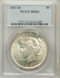 Peace Dollars: , 1927-D $1 MS62 PCGS. PCGS Population (1073/2733). NGC Census:(456/1583). Mintage: 1,268,900. Numismedia Wsl. Price for pro...