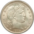 Barber Half Dollars: , 1899 50C MS63 PCGS. PCGS Population (54/74). NGC Census: (27/64).Mintage: 5,538,846. Numismedia Wsl. Price for problem fre...