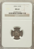 Bust Half Dimes: , 1834 H10C MS62 NGC. NGC Census: (69/290). PCGS Population (53/217).Mintage: 1,480,000. Numismedia Wsl. Price for problem f...