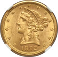 Liberty Half Eagles: , 1892-S $5 MS62 NGC. NGC Census: (63/9). PCGS Population (62/32).Mintage: 298,400. Numismedia Wsl. Price for problem free N...
