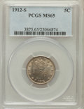 Liberty Nickels: , 1912-S 5C MS65 PCGS. PCGS Population (162/10). NGC Census: (98/5).Mintage: 238,000. Numismedia Wsl. Price for problem free...