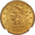 Liberty Eagles: , 1905 $10 MS63+ NGC. CAC. NGC Census: (289/223). PCGS Population(211/103). Mintage: 200,900. Numismedia Wsl. Price for prob...