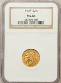 Indian Quarter Eagles: , 1909 $2 1/2 MS64 NGC. NGC Census: (829/237). PCGS Population(583/175). Mintage: 441,700. Numismedia Wsl. Price for problem...