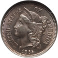 Three Cent Nickels: , 1865 3CN MS65 NGC. NGC Census: (132/16). PCGS Population (95/38).Mintage: 11,382,000. Numismedia Wsl. Price for problem fr...