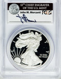 Modern Bullion Coins, 2012-W $1 One Ounce Silver Eagle Insert autographed By John M.Mercanti,12th Chief Engraver of the U.S. Mint, PR70 Deep C...