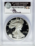 Modern Bullion Coins, 2002-W $1 One Ounce Silver Eagle Insert autographed By John M.Mercanti,12th Chief Engraver of the U.S. Mint, PR70 Deep C...