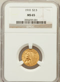Indian Quarter Eagles: , 1910 $2 1/2 MS65 NGC. NGC Census: (171/13). PCGS Population (89/8).Mintage: 492,000. Numismedia Wsl. Price for problem fre...