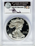 Modern Bullion Coins: , 2000-P $1 One Ounce Silver Eagle Insert autographed By John M.Mercanti,12th Chief Engraver of the U.S. Mint, PR70 Deep C...