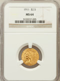 Indian Quarter Eagles: , 1911 $2 1/2 MS64 NGC. NGC Census: (1248/179). PCGS Population(692/94). Mintage: 704,000. Numismedia Wsl. Price for problem...