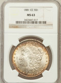 Morgan Dollars: , 1881-CC $1 MS63 NGC. NGC Census: (2055/6361). PCGS Population(4085/12831). Mintage: 296,000. Numismedia Wsl. Price for pro...