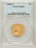 Indian Half Eagles: , 1908-D $5 MS63 PCGS. PCGS Population (1284/351). NGC Census:(963/476). Mintage: 148,000. Numismedia Wsl. Price for problem...