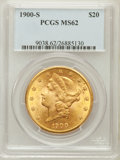 Liberty Double Eagles: , 1900-S $20 MS62 PCGS. PCGS Population (1880/932). NGC Census:(2376/777). Mintage: 2,459,500. Numismedia Wsl. Price for pro...