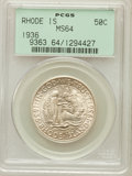 Commemorative Silver: , 1936 50C Rhode Island MS64 PCGS. PCGS Population (1130/1678). NGCCensus: (717/1353). Mintage: 20,013. Numismedia Wsl. Pric...