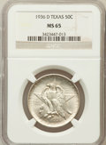 Commemorative Silver: , 1936-D 50C Texas MS65 NGC. NGC Census: (426/958). PCGS Population(722/1249). Mintage: 9,039. Numismedia Wsl. Price for pro...