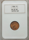 Indian Cents, 1886 1C Type One MS65 Red and Brown NGC....