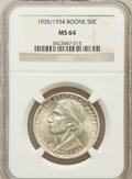 Commemorative Silver: , 1935/34 50C Boone MS64 NGC. NGC Census: (347/832). PCGS Population(637/934). Mintage: 10,008. Numismedia Wsl. Price for pr...