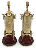 Asian:Other, A PAIR OF CHINESE BRASS LAMP BASES . 20th century. 17 inches high(43.2 cm) (base without harp). ... (Total: 2 Items)