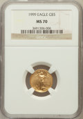 Modern Bullion Coins: , 1999 G$5 Tenth-Ounce Gold Eagle MS70 NGC. NGC Census: (1391). PCGSPopulation (138). Numismedia Wsl. Price for problem fre...