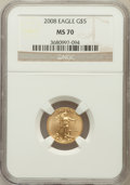 Modern Bullion Coins, 2008 G$5 Gold 1/10 Oz MS70 NGC. NGC Census: (0). PCGS Population(60). ...