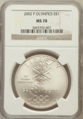 Modern Issues: , 2002-P $1 Olympics Silver Dollar MS70 NGC. NGC Census: (694). PCGSPopulation (335). Numismedia Wsl. Price for problem fre...