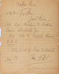 Autographs:Artists, F. Hopkins Smith, American Illustrator. Autograph Letter Signed.Very good....