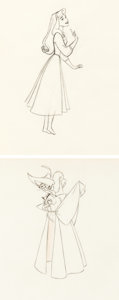 Animation Art:Production Drawing, Sleeping Beauty Briar Rose and Scarecrow Prince ProductionDrawings (Walt Disney, 1959).... (Total: 2 )