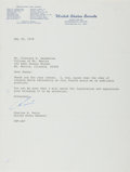 Autographs:Non-American, Charles H. Percy, US Senator from Illinois. Typed Letter Signed.Very good....