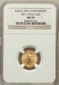 Modern Bullion Coins, 2011 $5 Tenth-Ounce Gold Eagle, 25th Anniversary MS70 NGC. NGCCensus: (505). PCGS Population (6). ...