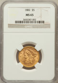 Liberty Half Eagles: , 1882 $5 MS65 NGC. NGC Census: (29/2). PCGS Population (14/0).Mintage: 2,514,568. Numismedia Wsl. Price for problem free NG...
