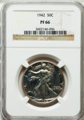 Proof Walking Liberty Half Dollars: , 1942 50C PR66 NGC. NGC Census: (1319/987). PCGS Population(1575/784). Mintage: 21,120. Numismedia Wsl. Price for problem f...