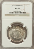 Commemorative Silver: , 1920 50C Maine MS66 NGC. NGC Census: (282/29). PCGS Population(398/22). Mintage: 50,028. Numismedia Wsl. Price for problem...