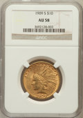 Indian Eagles: , 1909-S $10 AU58 NGC. NGC Census: (240/249). PCGS Population(173/301). Mintage: 292,350. Numismedia Wsl. Price for problem ...