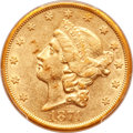 Liberty Double Eagles, 1874-CC $20 XF45 PCGS. Variety 1-A....