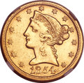 Liberty Half Eagles, 1854-D $5 Large D AU55 NGC. Variety 37-BB (formerly 31-X). ...